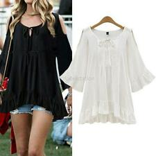 Fashion Women Summer Loose Short Sleeve Casual Shirt Top Blouse Plus Size XL-5XL