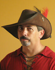 Medieval Celtic Renaissance SCA Larp Leather Musketeer Hat with Fleur de Lys