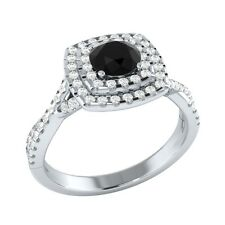 0.90 ct Black Spinel & White Sapphire Solid Gold Wedding Engagement Ring