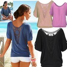 Summer women Loose Casual Lace Batwing Short Sleeve Shirt Blouse Tops plus size