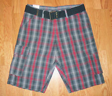 Levi's Squadron Plaid Belted Cargo Shorts Free Shipping  604-0004
