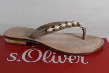s.Oliver Ladies Toe thong Mules Mules Real leather beige new