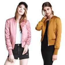 Women Warm Jacket Short Thin Padded Baseball Pilot Bomber Coat Outerwear Top