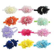 Rose Flower Baby Girls Children Pearl Headband Photography Prop Hair Band FK