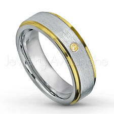 0.07ct Citrine Ring, 2-tone Comfort Fit Tungsten Ring, November Birthstone #330