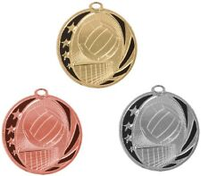VOLLEYBALL MEDALS GOLD SILVER BRONZE W/ NECK RIBBON MIDNIGHT STAR DESIGN