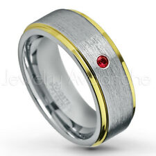 0.07ct Garnet Ring, 2-tone Comfort Fit Tungsten Ring, January Birthstone #132
