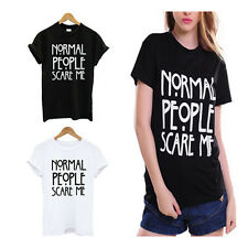 Funny Print Tshirt Normal People Scare Me Casual Shirt Cotton Women