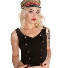 Ladies Hell Bunny Lars Top Black Steampunk Gothic Military Punk Plus Size