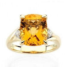14k Yellow Gold Citrine and Diamond Cushion Cut Solitaire Ring - 1.404cttw