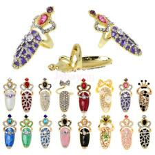 Lady Girl Rhinestone Crown Finger Tip Ring Nail Art Fashion Knuckle Jewelry
