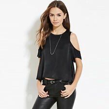 Fashion Women Tank Top Black Solid Off Shoulder Casual T-shirt Tops Blouse