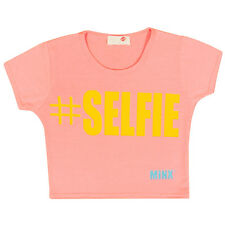 Girls #Selfie Crop Top Short Sleeve Kids Fashion Party Tops Neon Pink 7-13 Year