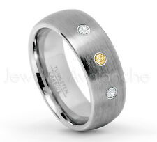 November Birthstone 0.21ctw Citrine & Diamond 3-Stone Dome Tungsten Ring #069