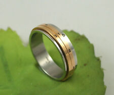 Gatik R1003 Ladies Stainless Steel 2 Colour Spinning Date of Month 6mm Band Ring