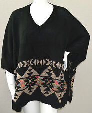 Velzera Tribal Aztec Southwest Poncho Sweater with Sequins Accent Plus One Size