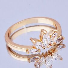 Women's Yellow Gold Filled Oval Cubic Zirconia Band Ring Size 6 7 8