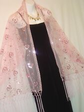 PINK,FLORAL CHIFFON,SEQUIN SCARF, SHAWL,WRAP, SARONG, STOLE,WELLCO- 66X25- #R62