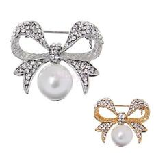 New Rhinestone Bowknot Pearls Brooch Pins Jewelry Costume