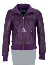 Ladies ATLANTIC Purple Waxed (3758) Biker Style Lambskin Leather Designer Jacket