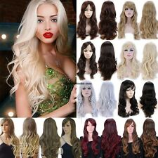 Long Straight Curly Wavy Wig Full Wigs Cap Hair Nets Bleach Blonde Medium Brown