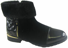 NEW LADIES WOMEN ANKLE FURR CUFF TOP LOW HEEL ANKLE  SHOE BOOT SIZE 3 - 8