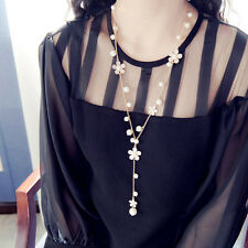 Woman's Fashion Long Sweater Chain White Pearl Flower Tassel Pendant Necklace