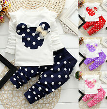 2 Pcs Girls Clothing Sets Leggings Cute Cartoon Suits New Baby Kids Polka Dot