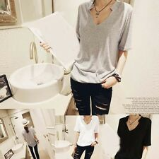 T-Shirt Casual Slim New Women Tops Tee Modal V-neck Fashion Solid color