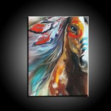 HandPainted Modern Abstract Oil Painting On Canvas: Indian color horse 60x90cm