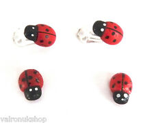 NEW SMALL CUTE LADYBIRD EARRINGS - STUD, MAGNETIC OR CLIP ON - IDEAL CHILDREN