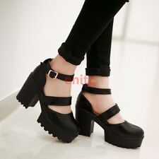 Ladies Gothic Chunky High Heels Ankle Buckle Womens Buckle Platform Shoes H-22