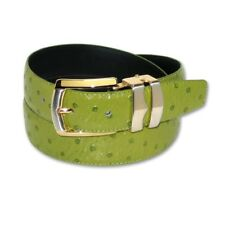 OSTRICH Pattern LIME GREEN Bonded Leather Men's Belt Gold-Tone Buckle Regular