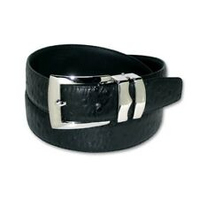 OSTRICH Pattern BLACK Color BONDED Leather Men's Belt Silver-Tone Buckle Regular