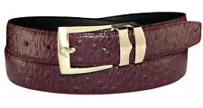 OSTRICH Pattern BURGUNDY Bonded Leather Men's Belt Gold-Tone Buckle Regular