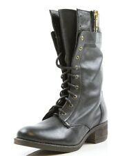 Women's Steve Madden Leader Black Leather Lace Up Boots Sizes 5, 8 M