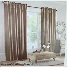 NEXT SILK CURTAINS 100% REAL SILK LUXURY MINK COLOUR EYELET DOUBLE LINED 53Inx54