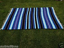 """Mexican Blanket Sarape Blue Teal Recycle Acrylic""""84x60""""Made in Mexico"""