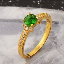 Gold Filled Zircon Ring Size 6-9 Green 14K Girl Fashion Jewelry Hot Wedding