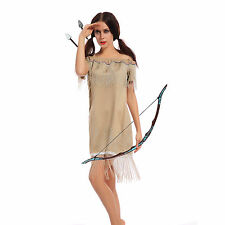 Ladies Indian Squaw Pocahontas Native American Wild Western Fancy Dress Costume