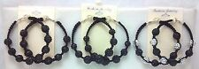 Black Swarovski Crystal Disco Bead Ball Shamballa Hoop Earrings Handmade