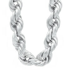 20 mm Wide 925 Sterling Silver Plated Chunky Hip Hop Dookie Rope Long Neck Chain