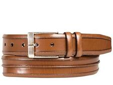 Mezlan Men's Piped and Stitched Fashion Calfskin TAN Belt AO10121 Spain