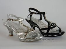 New Girls Silver Black Dress Shoes Strappy Heels Sandals Pageant Toddler Youth