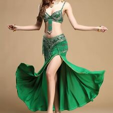 2pics bra+belt handmade beaded belly dance costume set bra top hip scarf
