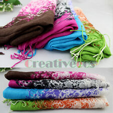 New Fashion Cotton Floral Print Long Scarf Soft Well Wrap Tassel Shawl Stole