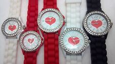 Geneva Water Resistant Women CZ Red Heart Elegant Crystal Silicone Strap Watch