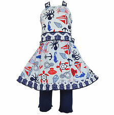 AnnLoren Boutique Beach Nautical 4th of July Halter Dress Outfit sz 2/3T-9/10