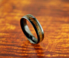 Black Ceramic Wedding Band w/ Koa Wood Inlay 6mm- Engagement Ring,Wood Ring,New.