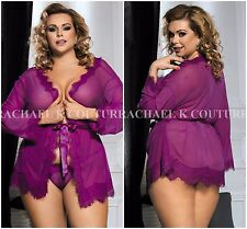 AU Plus Size Women's 3pc Sexy Sheer Eyelash Purple Robe G-string Lingerie Sz8-22